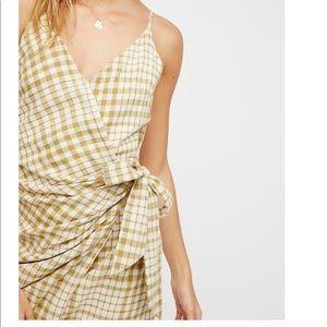 Free people gingham wrap dress